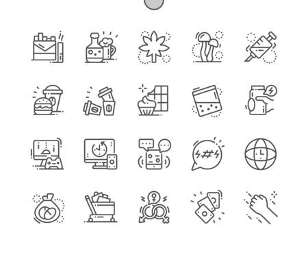 Bad habits Well-crafted Pixel Perfect Vector Thin Line Icons 30 2x Grid for Web Graphics and Apps. Simple Minimal Pictogram Illustration
