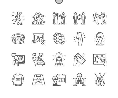 Soccer Well-crafted Pixel Perfect Vector Thin Line Icons 30 2x Grid for Web Graphics and Apps. Simple Minimal Pictogram Illustration