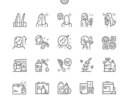 Keratin-Haarbehandlung Gut gestaltete Pixel Perfect Vector Thin Line Icons 30 2x Raster für Webgrafiken und Apps. Einfaches minimales Piktogramm Vektorgrafik