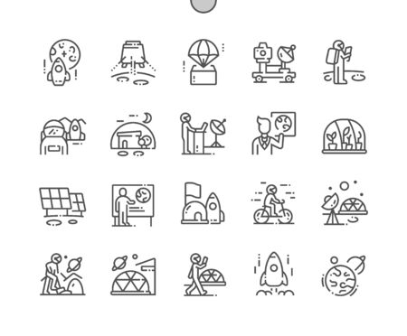 Mission to mars Well-crafted Pixel Perfect Vector Thin Line Icons 30 2x Grid for Web Graphics and Apps. Simple Minimal Pictogram