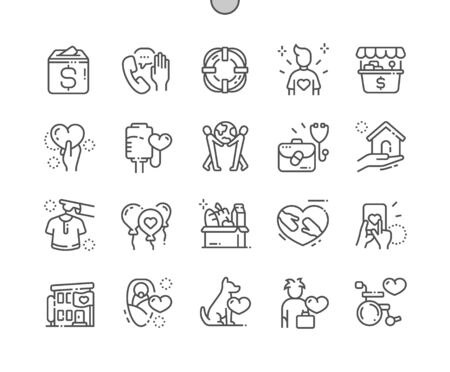 Charity Well-crafted Pixel Perfect Vector Thin Line Icons 30 2x Grid for Web Graphics and Apps. Simple Minimal Pictogram Vector Illustration