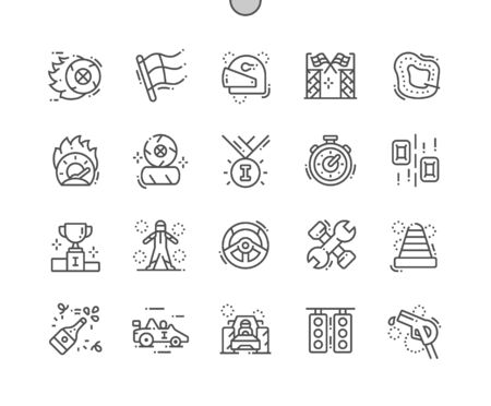 Motor races Well-crafted Pixel Perfect Vector Thin Line Icons 30 2x Grid for Web Graphics and Apps. Simple Minimal Pictogram Ilustrace