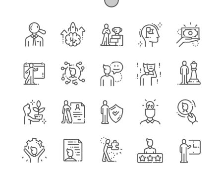 Personality Well-crafted Pixel Perfect Vector Thin Line Icons 30 2x Grid for Web Graphics and Apps. Simple Minimal Pictogram Ilustração