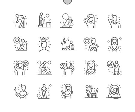 People in pain Well-crafted Pixel Perfect Vector Thin Line Icons 30 2x Grid for Web Graphics and Apps. Simple Minimal Pictogram 向量圖像