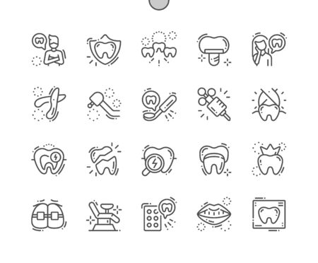 Dentist Well-crafted Pixel Perfect Vector Thin Line Icons 30 2x Grid for Web Graphics and Apps. Simple Minimal Pictogram