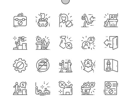 Dismssal Well-crafted Pixel Perfect Vector Thin Line Icons 30 2x Grid for Web Graphics and Apps. Simple Minimal Pictogram