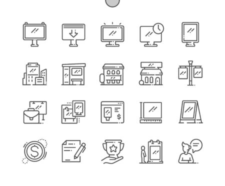 Outdoor advertising Well-crafted Pixel Perfect Vector Thin Line Icons 30 2x Grid for Web Graphics and Apps. Simple Minimal Pictogram