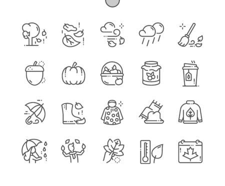 Autumn Well-crafted Pixel Perfect Vector Thin Line Icons 30 2x Grid for Web Graphics and Apps. Simple Minimal Pictogram