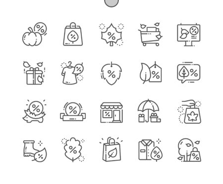 Autumn sale Well-crafted Pixel Perfect Vector Thin Line Icons 30 2x Grid for Web Graphics and Apps. Simple Minimal Pictogram