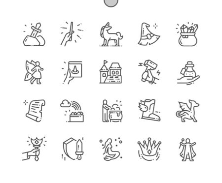 Fantasy 2 Well-crafted Pixel Perfect Vector Thin Line Icons 30 2x Grid for Web Graphics and Apps. Simple Minimal Pictogram Çizim