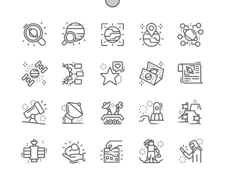 Space research Well-crafted Pixel Perfect Vector Thin Line Icons 30 2x Grid for Web Graphics and Apps. Simple Minimal Pictogram Ilustracja