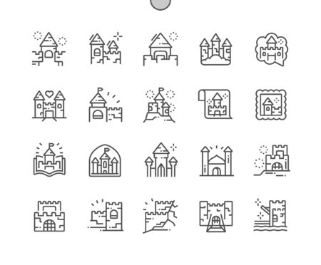 Castles and fortresses Well-crafted Pixel Perfect Vector Thin Line Icons 30 2x Grid for Web Graphics and Apps. Simple Minimal Pictogram Иллюстрация