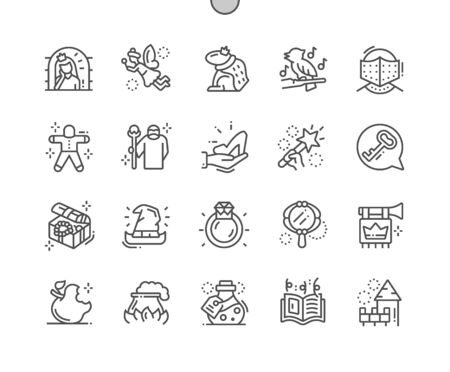 Fairy tales Well-crafted Pixel Perfect Vector Thin Line Icons 30 2x Grid for Web Graphics and Apps. Simple Minimal Pictogram