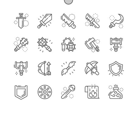 Fantasy weapons Well-crafted Pixel Perfect Vector Thin Line Icons 30 2x Grid for Web Graphics and Apps. Simple Minimal Pictogram  イラスト・ベクター素材
