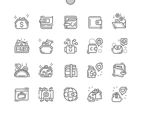 Wallet Well-crafted Pixel Perfect Vector Thin Line Icons 30 2x Grid for Web Graphics and Apps. Simple Minimal Pictogram Иллюстрация