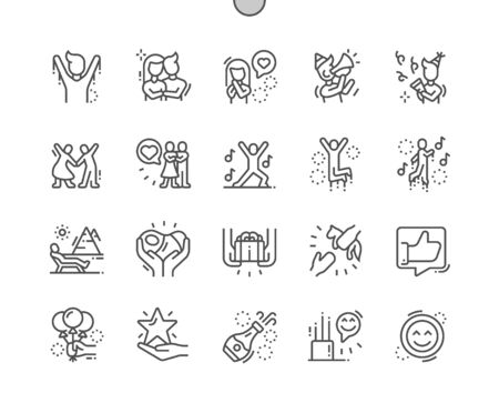 Happy Well-crafted Pixel Perfect Vector Thin Line Icons 30 2x Grid for Web Graphics and Apps. Simple Minimal Pictogram Banco de Imagens - 130029886