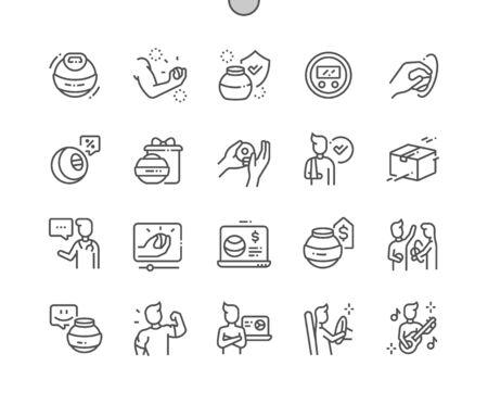 Handexpander Gut verarbeitete Pixel Perfect Vector Thin Line Icons 30 2x Raster für Webgrafiken und Apps. Einfaches minimales Piktogramm Vektorgrafik