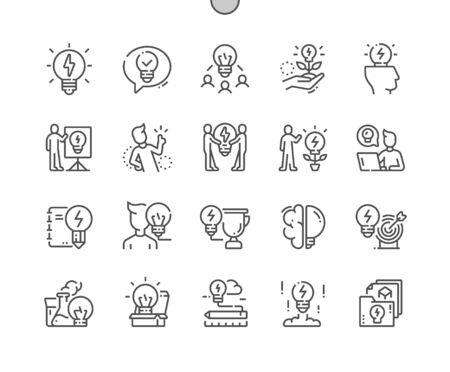 Idea Well-crafted Pixel Perfect Vector Thin Line Icons 30 2x Grid for Web Graphics and Apps. Simple Minimal Pictogram 일러스트