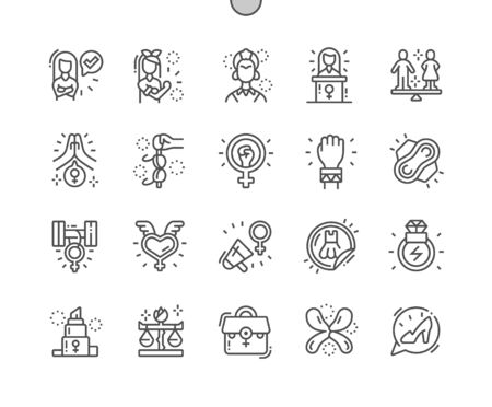 Feminist Well-crafted Pixel Perfect Vector Thin Line Icons 30 2x Grid for Web Graphics and Apps. Simple Minimal Pictogram