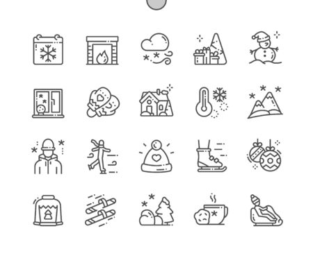 Winter Well-crafted Pixel Perfect Vector Thin Line Icons 30 2x Grid for Web Graphics and Apps. Simple Minimal Pictogram Ilustracja