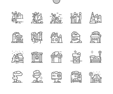 Winter town Well-crafted Pixel Perfect Vector Thin Line Icons 30 2x Grid for Web Graphics and Apps. Simple Minimal Pictogram