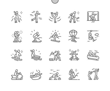 Leisure activities in winter Well-crafted Pixel Perfect Vector Thin Line Icons 30 2x Grid for Web Graphics and Apps. Simple Minimal Pictogram