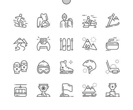 Sports d'hiver Bien conçu Pixel Perfect Vector Thin Line Icons 30 Grille 2x pour les graphiques Web et les applications. Pictogramme minimal simple