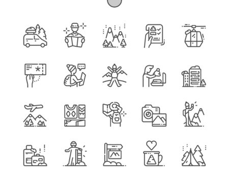 Winter travelling Well-crafted Pixel Perfect Vector Thin Line Icons 30 2x Grid for Web Graphics and Apps. Simple Minimal Pictogram