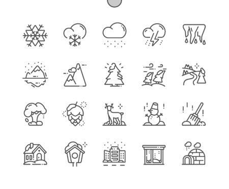 Natura invernale Pixel ben realizzato Vettore perfetto Linea sottile Icone 30 Griglia 2x per grafica Web e app. Pittogramma minimale semplice
