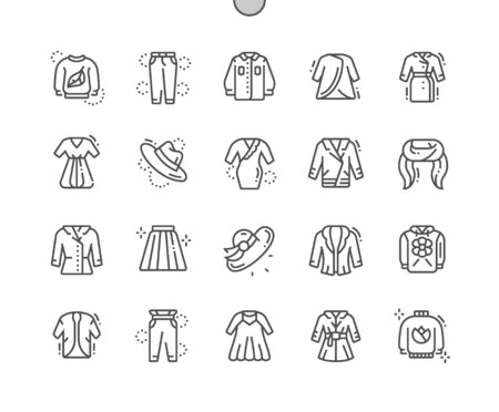 Spring clothes Well-crafted Pixel Perfect Vector Thin Line Icons 30 2x Grid for Web Graphics and Apps. Simple Minimal Pictogram