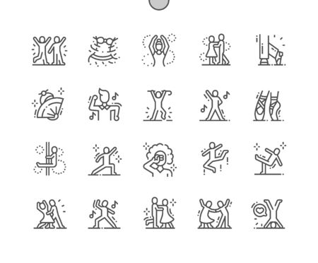Dancing Well-crafted Pixel Perfect Vector Thin Line Icons 30 2x Grid for Web Graphics and Apps. Simple Minimal Pictogram Çizim