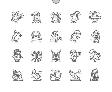 Christmas penguins Well-crafted Pixel Perfect Vector Thin Line Icons 30 2x Grid for Web Graphics and Apps. Simple Minimal Pictogram Illustration