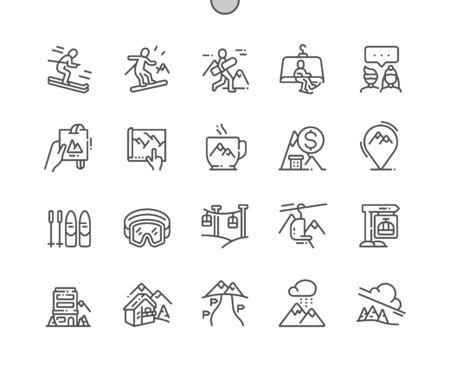 Skigebiet Gut gestaltete Pixel Perfect Vector Thin Line Icons 30 2x Raster für Webgrafiken und Apps. Einfaches minimales Piktogramm Vektorgrafik