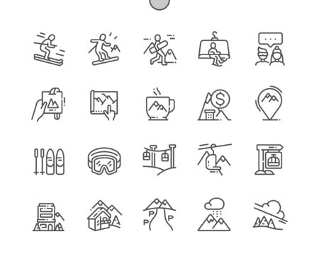 Ski resort Well-crafted Pixel Perfect Vector Thin Line Icons 30 2x Grid for Web Graphics and Apps. Simple Minimal Pictogram Illustration