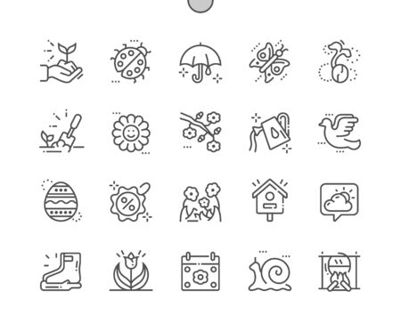 Spring Well-crafted Pixel Perfect Vector Thin Line Icons 30 2x Grid for Web Graphics and Apps. Simple Minimal Pictogram Illustration