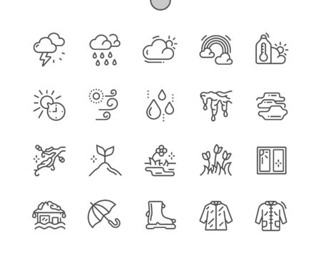 Spring weather Well-crafted Pixel Perfect Vector Thin Line Icons 30 2x Grid for Web Graphics and Apps. Simple Minimal Pictogram