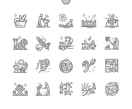 Spring picnic Well-crafted Pixel Perfect Vector Thin Line Icons 30 2x Grid for Web Graphics and Apps. Simple Minimal Pictogram