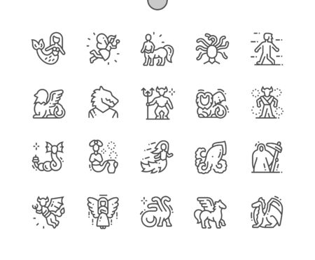Mythical creatures Well-crafted Pixel Perfect Vector Thin Line Icons 30 2x Grid for Web Graphics and Apps. Simple Minimal Pictogram Banque d'images - 131163752