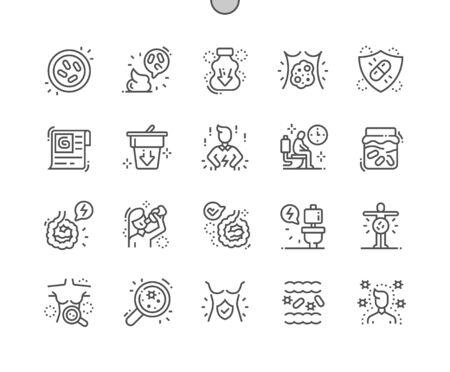 Probiotika Gut gestaltete Pixel Perfect Vector Thin Line Icons 30 2x Raster für Webgrafiken und Apps. Einfaches minimales Piktogramm Vektorgrafik