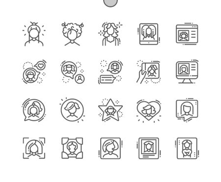 Woman avatar Well-crafted Pixel Perfect Vector Thin Line Icons 30 2x Grid for Web Graphics and Apps. Simple Minimal Pictogram