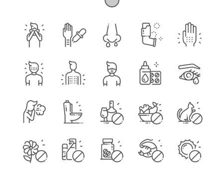 Allergie Bien conçu Pixel Perfect Vector Thin Line Icons 30 Grille 2x pour les graphiques Web et les applications. Pictogramme minimal simple