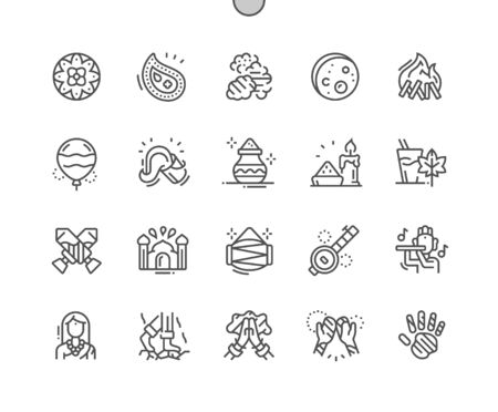 Holi Well-crafted Pixel Perfect Vector Thin Line Icons 30 2x Grid for Web Graphics and Apps. Simple Minimal Pictogram Фото со стока - 131163763