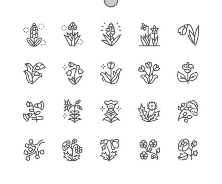 Spring flowers Well-crafted Pixel Perfect Vector Thin Line Icons 30 2x Grid for Web Graphics and Apps. Simple Minimal Pictogram