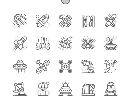 Spacecraft Well-crafted Pixel Perfect Vector Thin Line Icons 30 2x Grid for Web Graphics and Apps. Simple Minimal Pictogram