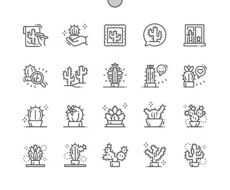 Cactus Well-crafted Pixel Perfect Vector Thin Line Icons 30 2x Grid for Web Graphics and Apps. Simple Minimal Pictogram