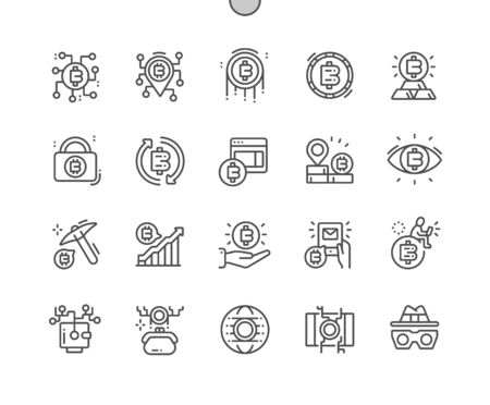 Cryptocurrency Well-crafted Pixel Perfect Vector Thin Line Icons 30 2x Grid for Web Graphics and Apps. Simple Minimal Pictogram Ilustração