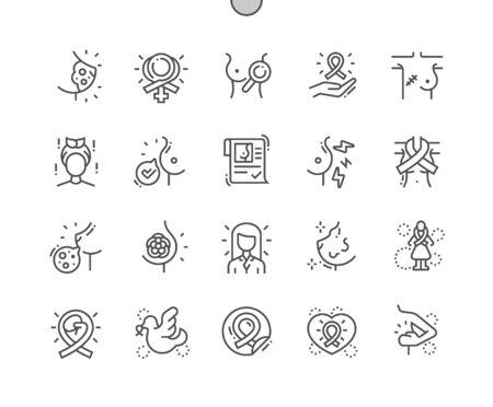 Cáncer de mama Iconos de líneas finas de píxeles perfectos vectoriales bien elaborados Cuadrícula de 30 2x para gráficos y aplicaciones web. Pictograma mínimo simple