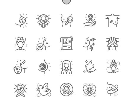Breast cancer Well-crafted Pixel Perfect Vector Thin Line Icons 30 2x Grid for Web Graphics and Apps. Simple Minimal Pictogram Illustration
