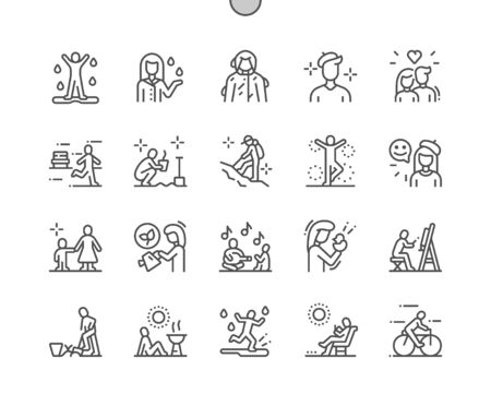 Spring people Well-crafted Pixel Perfect Vector Thin Line Icons 30 2x Grid for Web Graphics and Apps. Simple Minimal Pictogram Ilustração