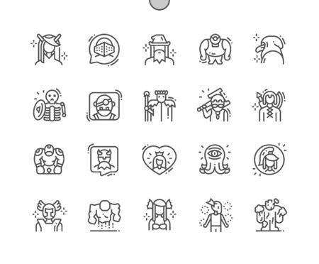 Fantastic characters Well-crafted Pixel Perfect Vector Thin Line Icons 30 2x Grid for Web Graphics and Apps. Simple Minimal Pictogram